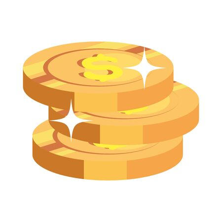 pile coins money cash isolated icon vector illustration design 向量圖像