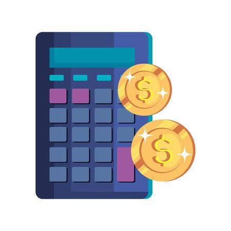 coins money cash with calculator vector illustration design