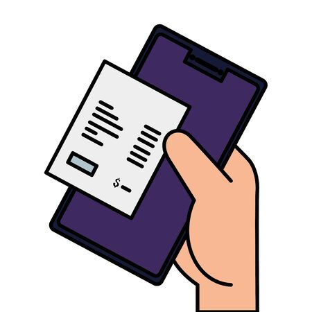 paper voucher with smartphone and hand vector illustration design 向量圖像