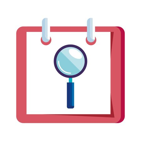 magnifying glass in calendar reminder isolated icon vector illustration design  イラスト・ベクター素材