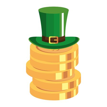 top hat and coins with clover vector illustration design
