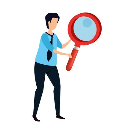 man with magnifying glass instrument isolated icon vector illustration design