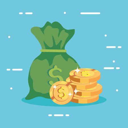 money bag with pile coins vector illustration design