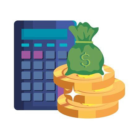 money bag cash with calculator and coins vector illustration design