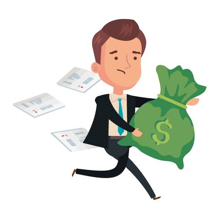 money bag with businessman and voucher paper vector illustration design