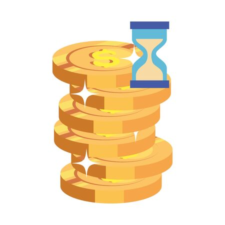 pile coins with hourglass isolated icon vector illustration design