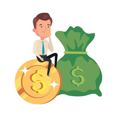 money bag with businessman with coin vector illustration design 向量圖像