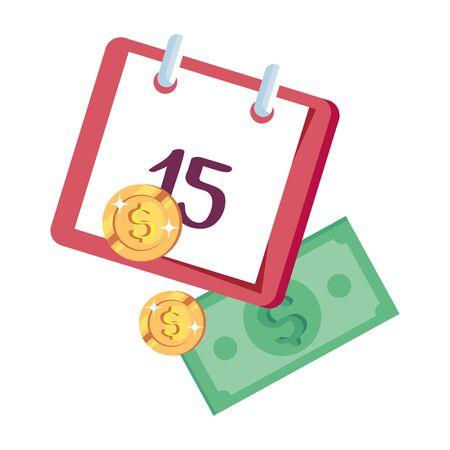 coins money with bills finance and calendar reminder vector illustration design