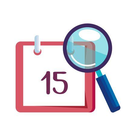 magnifying glass with calendar reminder vector illustration design