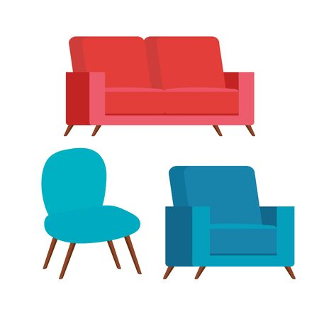 set of comfortable couches and chair vector illustration design