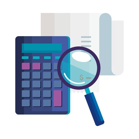 magnifying glass with calculator math and voucher vector illustration design