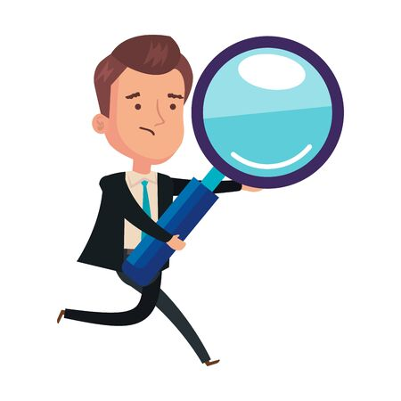 magnifying glass with businessman isolated icon vector illustration design