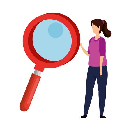 woman and magnifying glass instrument isolated icon vector illustration design