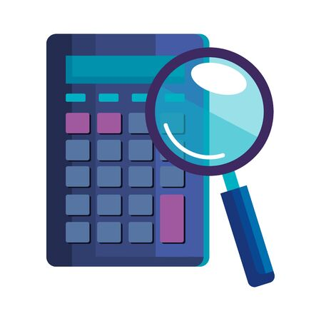 magnifying glass with calculator math and vector illustration design