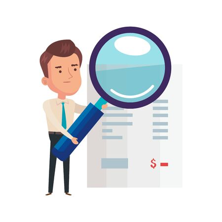magnifying glass with businessman and voucher paper vector illustration design