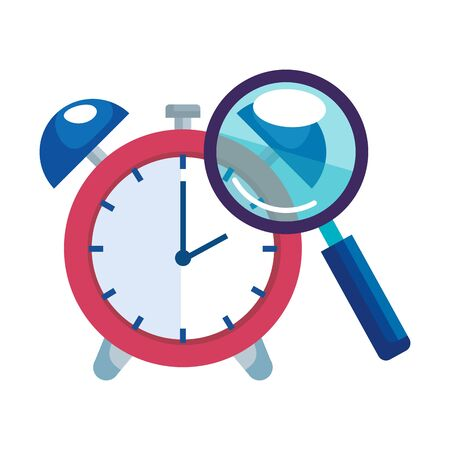 magnifying glass with alarm clock isolated icon vector illustration design  イラスト・ベクター素材
