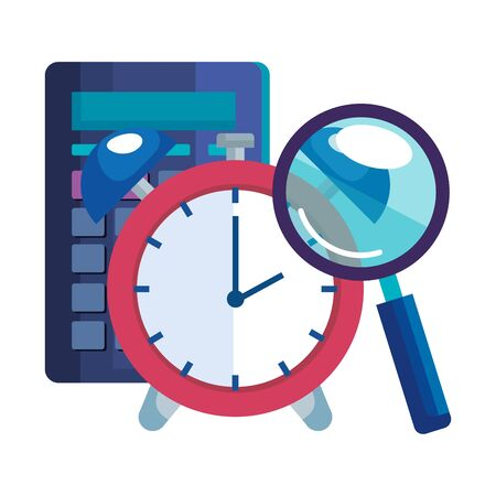 magnifying glass with calculator math and alarm clock vector illustration design  イラスト・ベクター素材