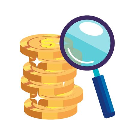 magnifying glass with pile coins isolated icon vector illustration design
