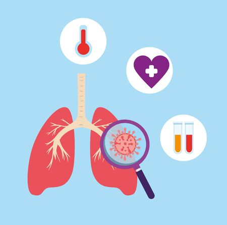 lungs with set icons of covid 19 vector illustration design