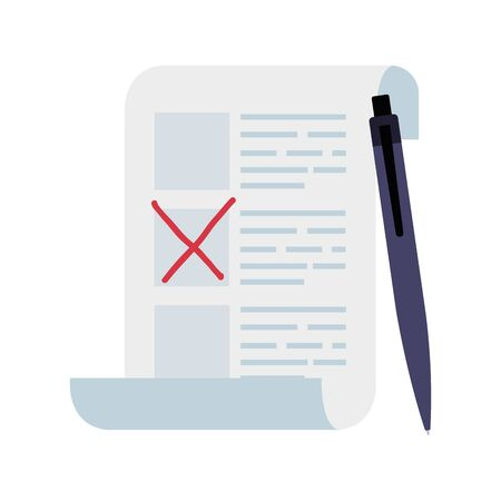vote form with pen isolated icon vector illustration design 向量圖像