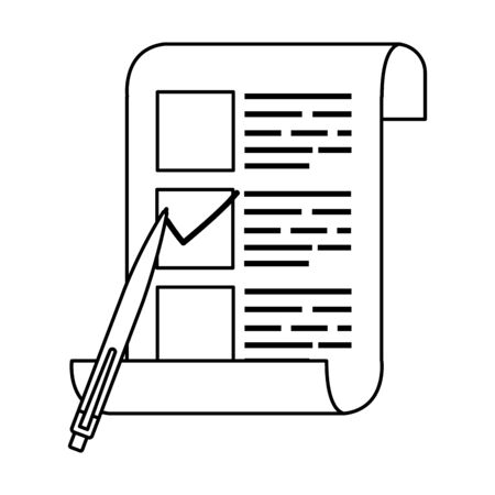 vote form with pen line style icon vector illustration design 向量圖像