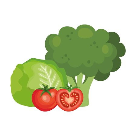Fresh broccoli with vegetables isolated icons
