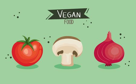 vegan food poster with tomato and vegetables vector illustration design Illustration