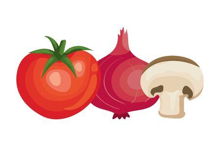 fresh tomato with purple onion and mushroom vector illustration design