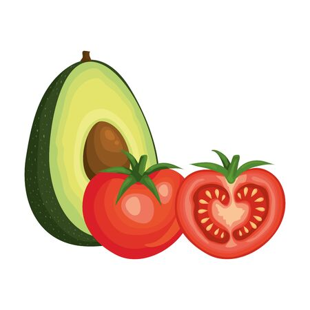 fresh tomatoes with avocado vegetables vector illustration design