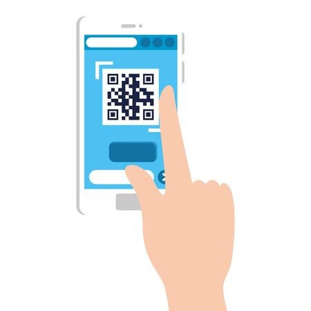 hand and qr code inside smartphone design of technology scan information business price communication barcode digital and data theme Vector illustration