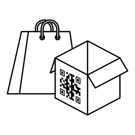 qr code over box and bag design of technology scan information business price communication barcode digital and data theme Vector illustration 向量圖像