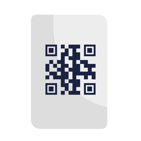 qr code over paper design of technology scan information business price communication barcode digital and data theme Vector illustration
