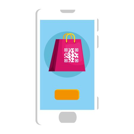 qr code inside smartphone and bag design of technology scan information business price communication barcode digital and data theme Vector illustration