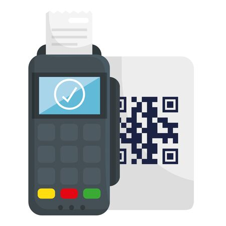 dataphone qr code over paper design of technology scan information business price communication barcode digital and data theme Vector illustration 向量圖像