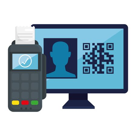 qr code inside computer and dataphone design of technology scan information business price communication barcode digital and data theme Vector illustration