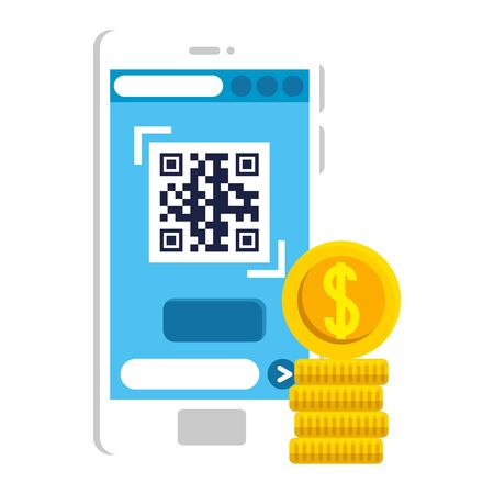 qr code inside smartphone and coins design of technology scan information business price communication barcode digital and data theme Vector illustration