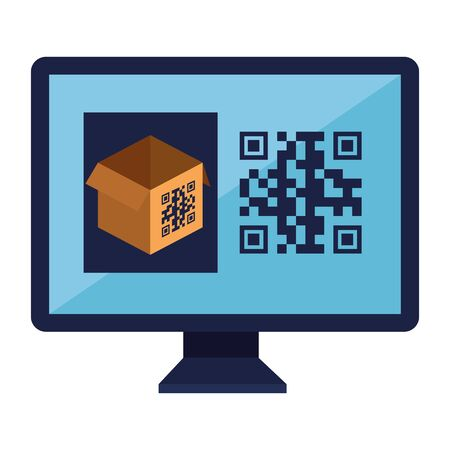 qr code over box and computer design of technology scan information business price communication barcode digital and data theme Vector illustration 向量圖像