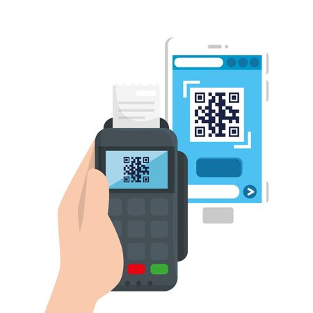 qr code inside smartphone and dataphone design of technology scan information business price communication barcode digital and data theme Vector illustration 向量圖像