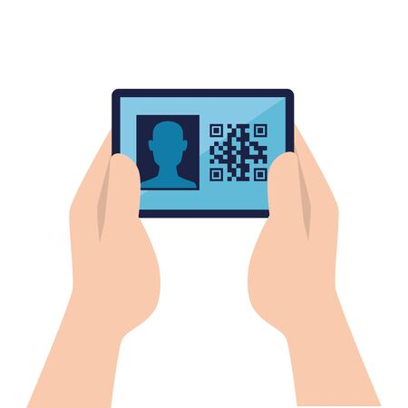 hands and qr code inside smartphone design of technology scan information business price communication barcode digital and data theme Vector illustration