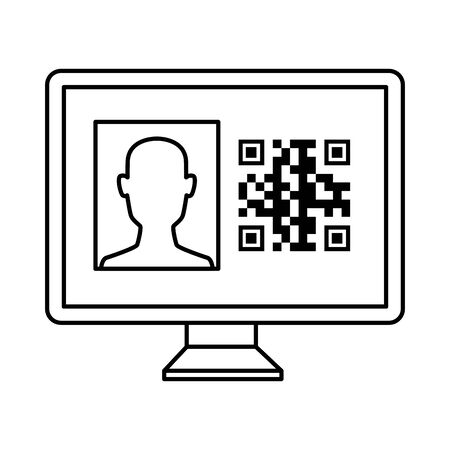 qr code inside computer and avatar head design of technology scan information business price communication barcode digital and data theme Vector illustration