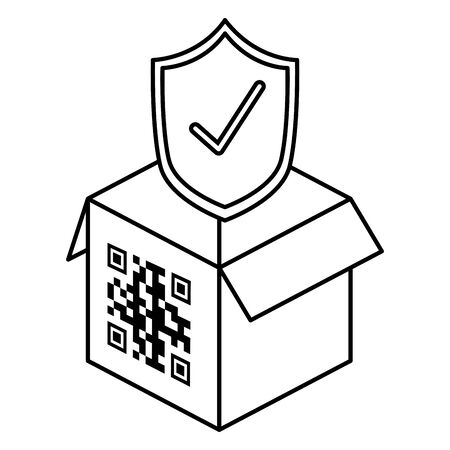 qr code over box and shield design of technology scan information business price communication barcode digital and data theme Vector illustration 向量圖像