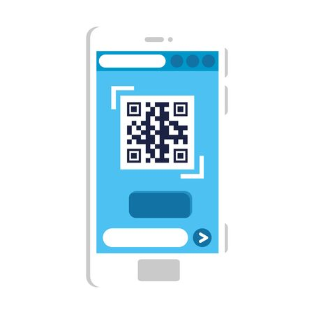 qr code inside smartphone design of technology scan information business price communication barcode digital and data theme Vector illustration