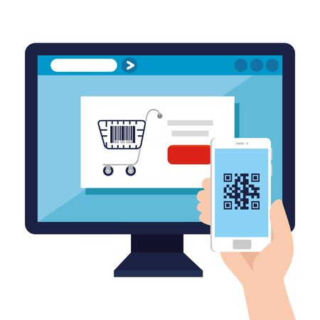 qr code inside computer and smartphone design of technology scan information business price communication barcode digital and data theme Vector illustration