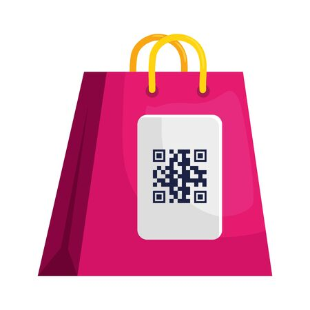 qr code over bag design of technology scan information business price communication barcode digital and data theme Vector illustration