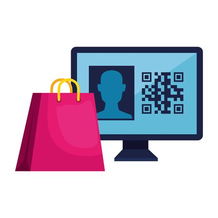 qr code inside computer and bag design of technology scan information business price communication barcode digital and data theme Vector illustration