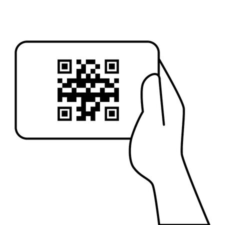 Hand holding qr code over paper design of technology scan information business price communication barcode digital and data theme Vector illustration