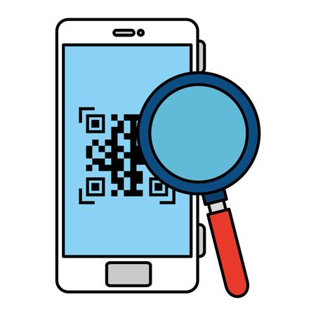 qr code inside smartphone and lupe design of technology scan information business price communication barcode digital and data theme Vector illustration