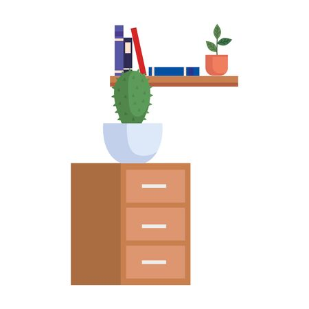 wooden drawer with cactus and books vector illustration design
