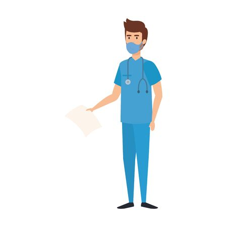 male paramedic with face mask isolated icon vector illustration design