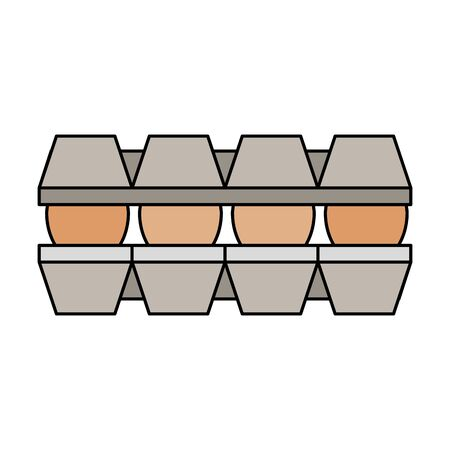 set eggs in package cardboard isolated icon vector illustration design